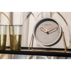 NeXtime - Table clock – 17.5 x 15.5 x 5 cm - Polyresin - Grey