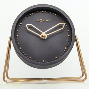 NeXtime - Table clock – 17.5 x 15.5 x 5 cm - Polyresin - Black