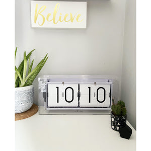 NeXtime - Table clock – Ø 36 cm - Acrylic – Flip Clock- Transparent – 'Big Flip Clear'