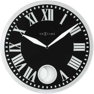 NeXtime - Wall clock – 43 x 4.2 cm - Glass - Black - 'Romana'