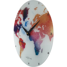 Load image into Gallery viewer, NeXtime - Wall clock - Ø 43 cm - Glass – Various colors – 'Colorful World'