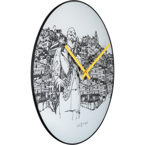 NeXtime - Wall clock - Ø 40 cm - Glass / Metal - White - Sax City