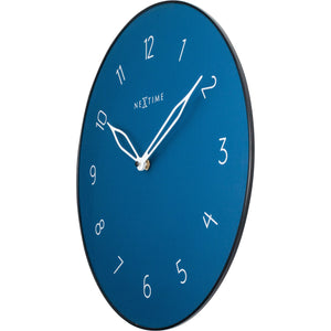 NeXtime - Wall clock - Ø 40 cm - Glass / Metal - Blue - 'Carousel'