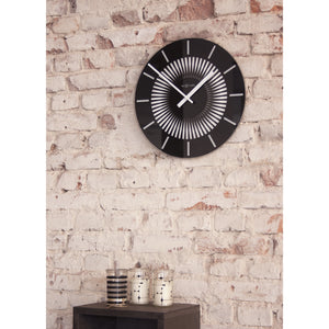 NeXtime - Wall clock - Ø 35 cm - Glass - Motion Clock- Black – 'Radial'