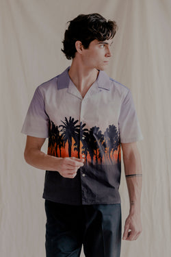 Remy Cotton Poplin Camp-Collar Sunset-Print Shirt