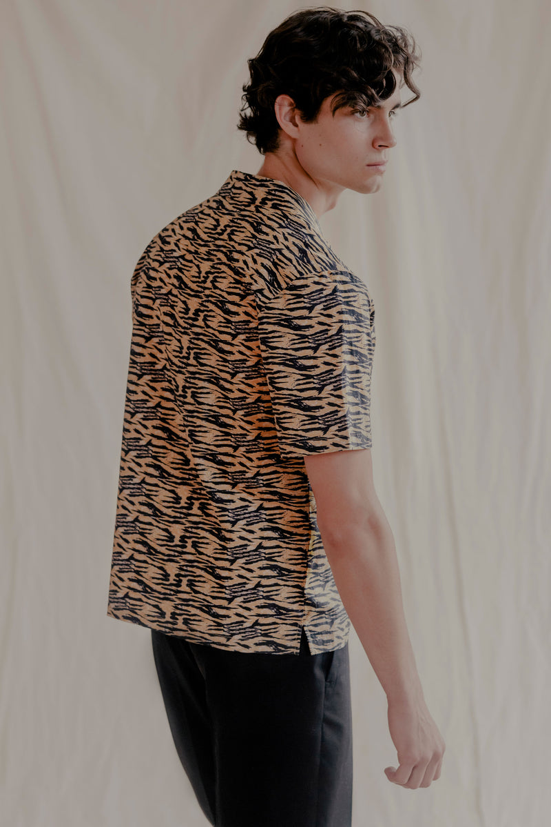Remy Cotton Poplin Camp-Collar Tiger-Print Shirt