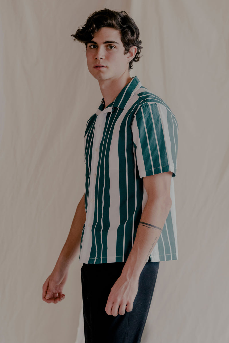 Remy Cotton Poplin Camp-Collar Green Stripe-Print Shirt