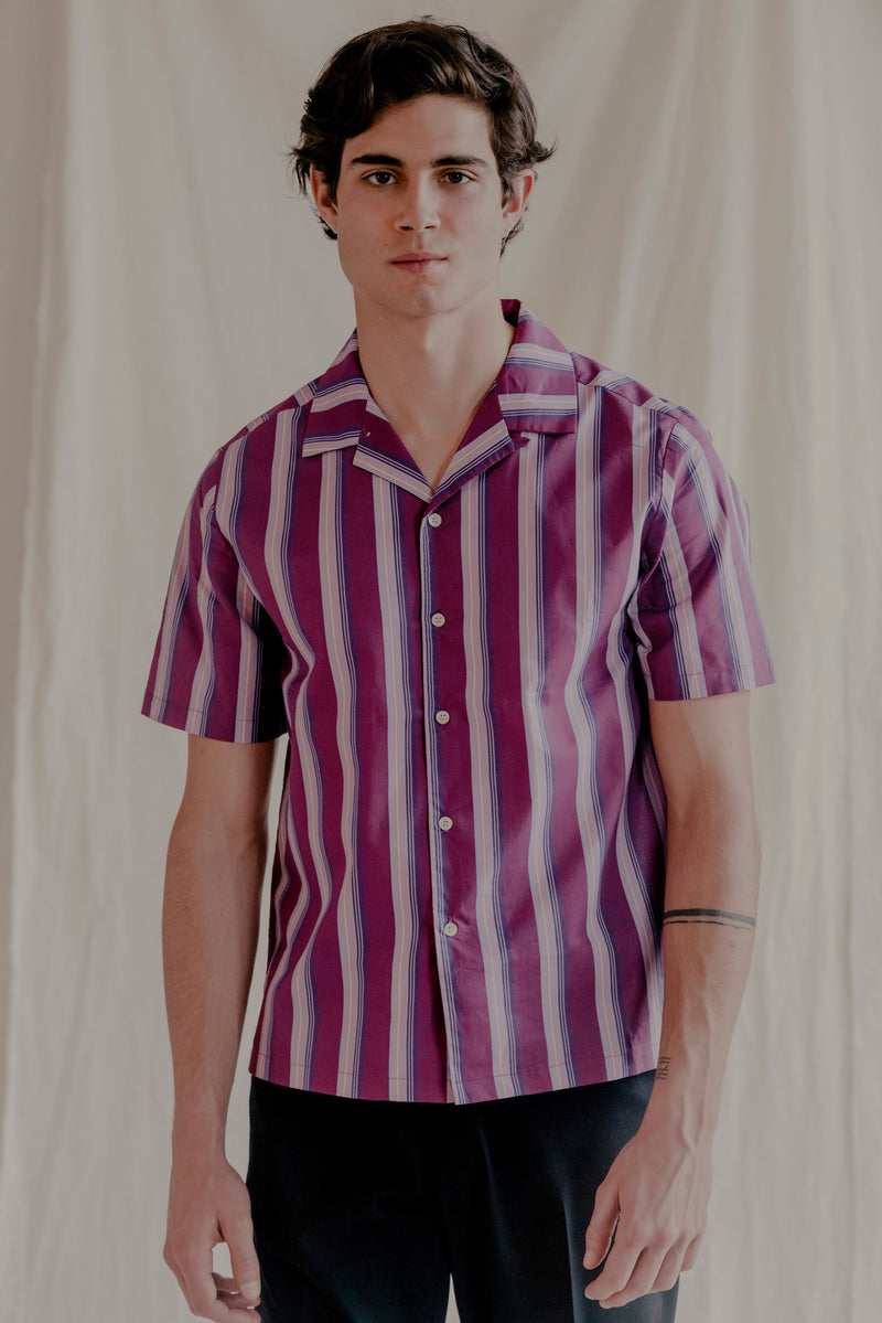 Remy Cotton Poplin Camp-Collar Purple Stripe-Print Shirt