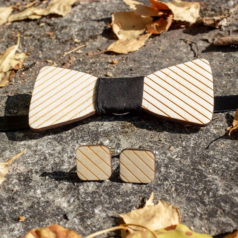 wooden plywood bowtie with lines and black middle part