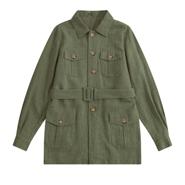 Hunter Green Indian Textured Linen HEMINGWAY Safari - Craftsman Clothing Ltd.