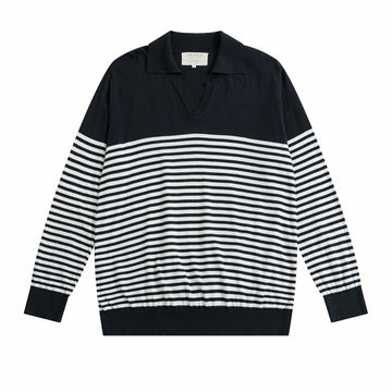 Navy JIMMY Breton Stripe Polo x Far Afield UK - Craftsman Clothing Ltd.