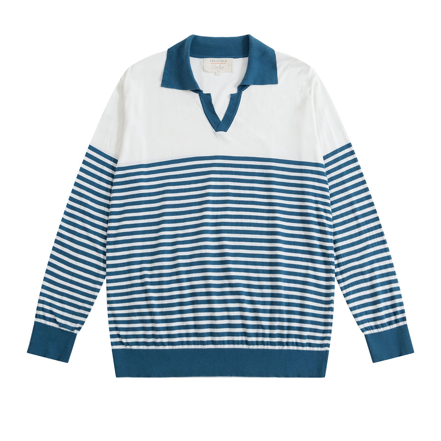 Marine Blue JIMMY Breton Stripe Polo x Far Afield UK - Craftsman Clothing Ltd.