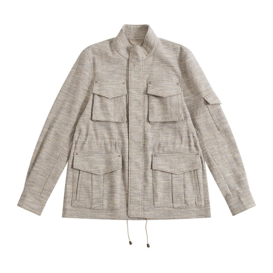 Blue Melange Linen-Silk De Niro M65 Field Jacket - Craftsman Clothing Ltd.