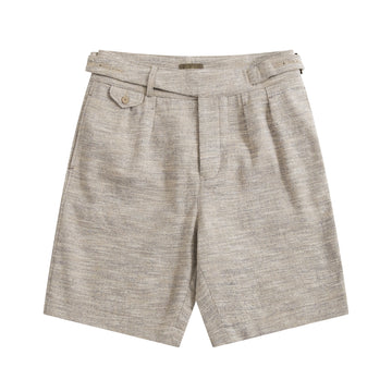 Blue Melange Linen-Silk Gurkha Shorts - Craftsman Clothing Ltd.