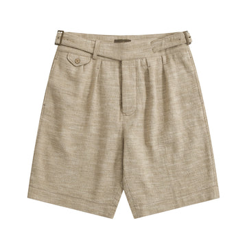 Cream Melange Linen-Silk Gurkha Shorts - Craftsman Clothing Ltd.