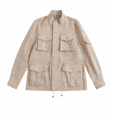 Pink Melange Linen-Silk De Niro M65 Field Jacket - Craftsman Clothing Ltd.
