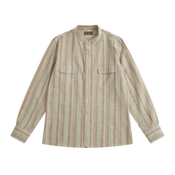 Rainbow Vintage Fabric Band Collar Vacation Shirt - Craftsman Clothing Ltd.