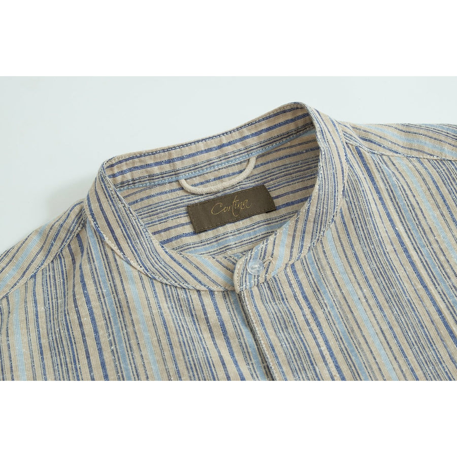 Blue/Cream Vintage Fabric Band Collar Vacation Shirt - Craftsman Clothing Ltd.