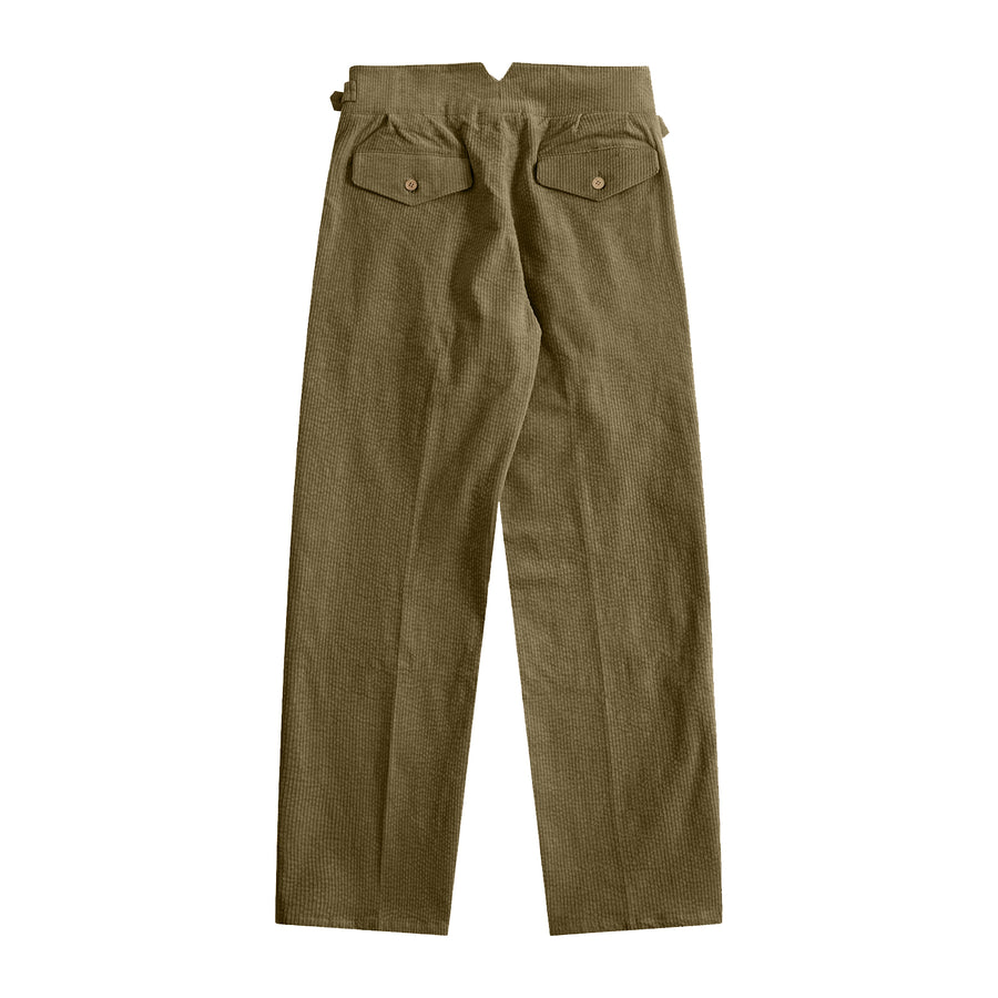 Sample Sale - Olive Green Corduroy Gurkha Pants - Craftsman Clothing Ltd.