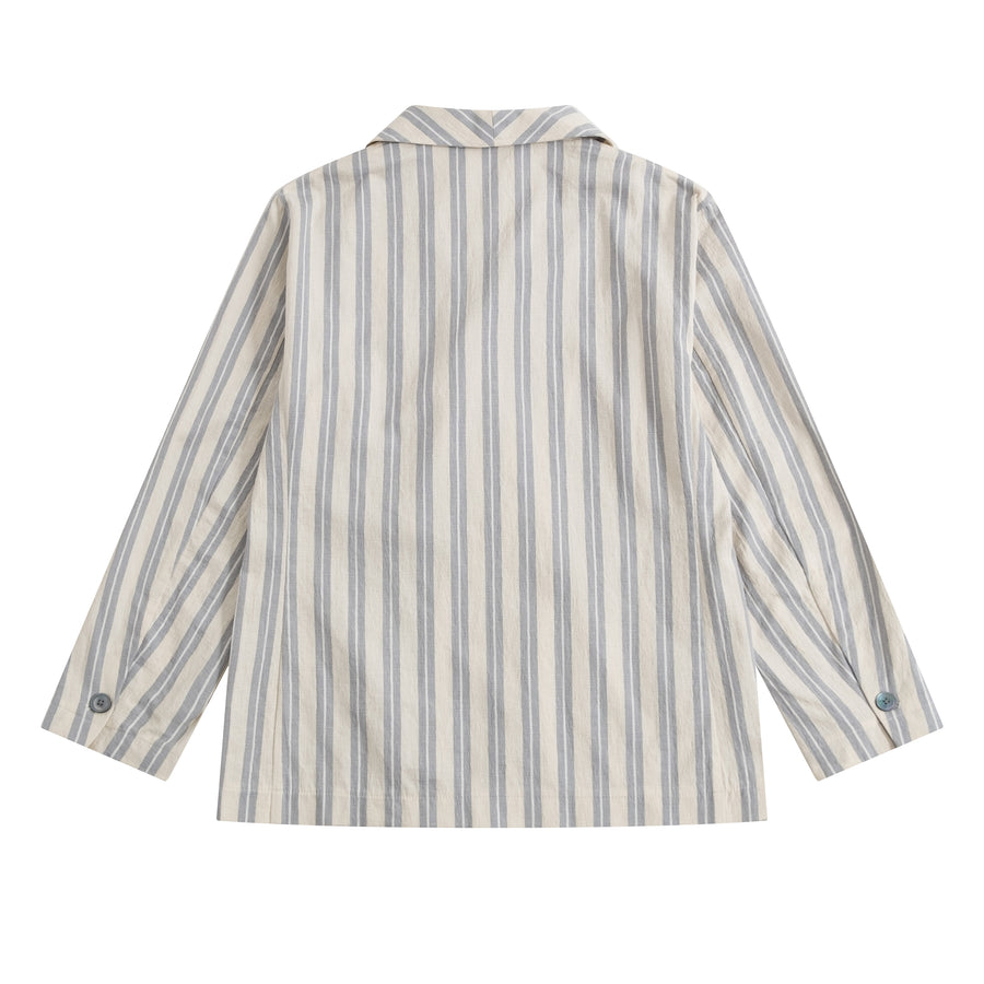 Striped ELKANN Double Breasted Shawl Collar Blazer - Craftsman Clothing Ltd.