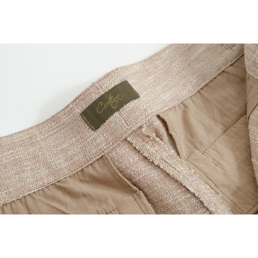 Pink Melange Linen-Silk Gurkha Shorts - Craftsman Clothing Ltd.