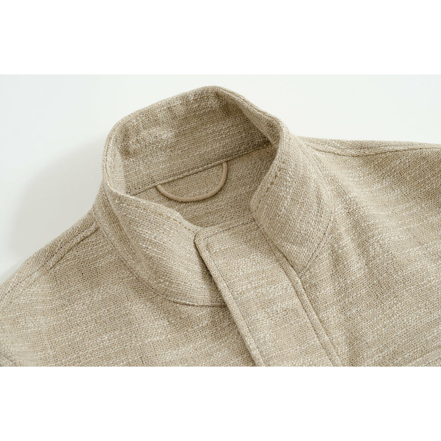 Cream Melage Linen-Silk De Niro M65 Field Jacket - Craftsman Clothing Ltd.
