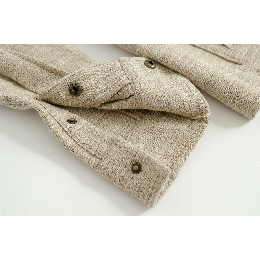 Cream Melange Linen-Silk De Niro M65 Field Jacket - Craftsman Clothing Ltd.