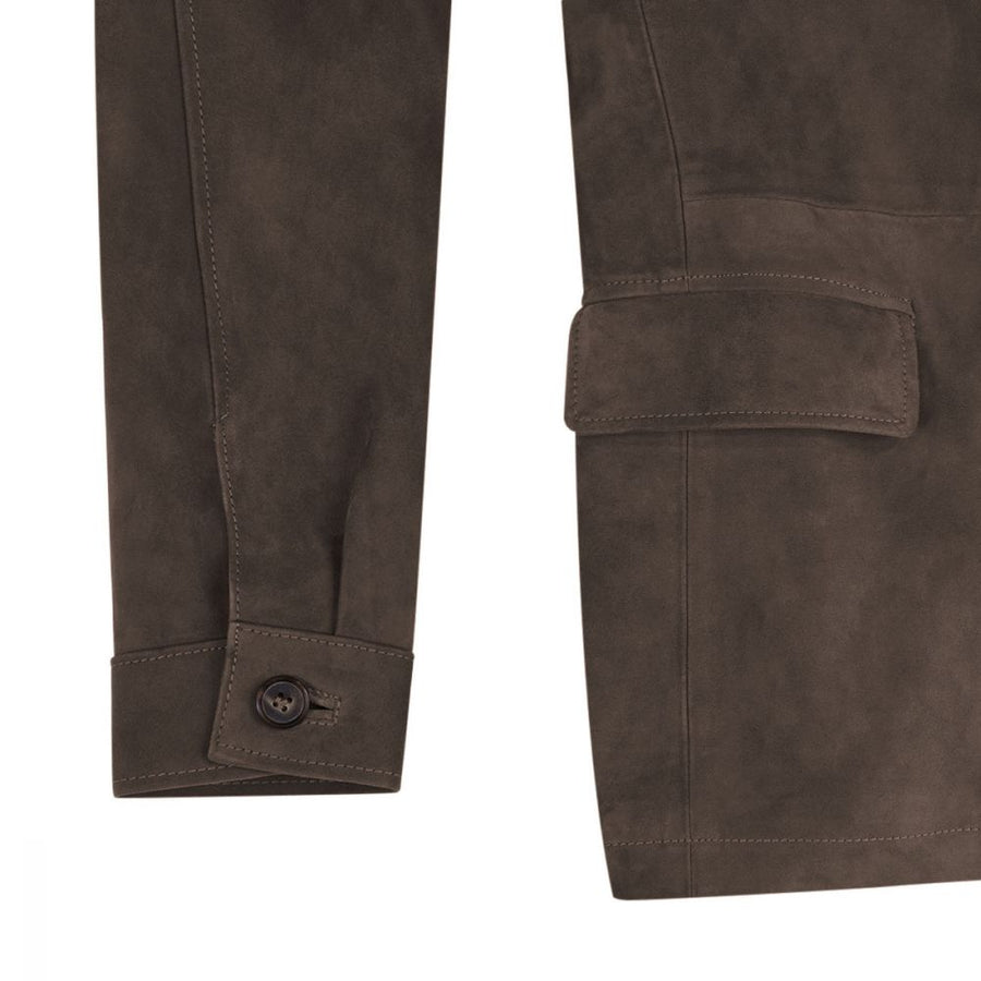 Dark Brown RAKISH Belted Suede Safari RTW - Craftsman Clothing Ltd.