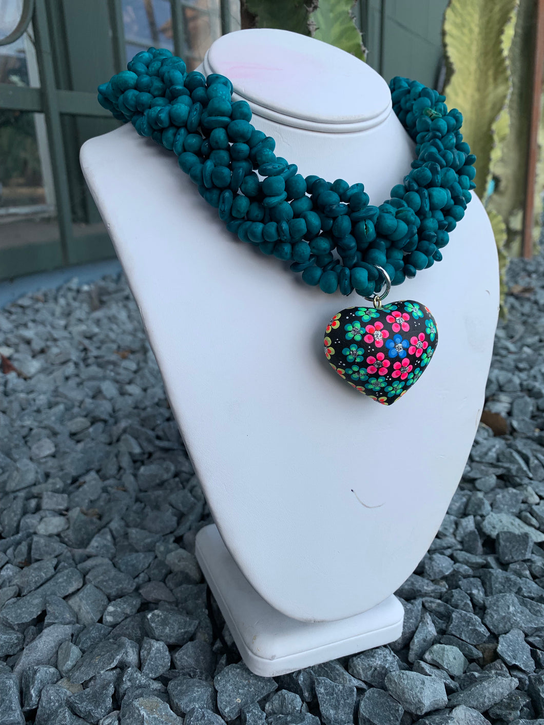 Handmade peas and beans necklace with alebrije pendant