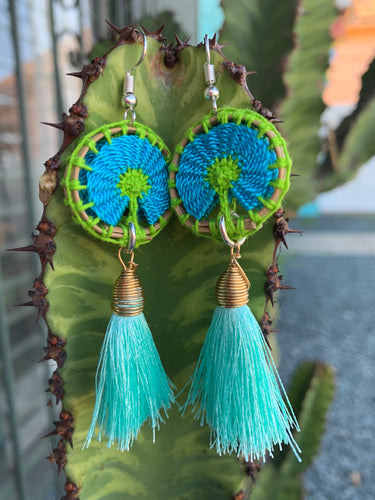 Handcrafted turquoise earrings designed by Tu Corazón Artesanal