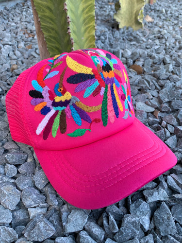 Pink Otomi hand embroidered hat