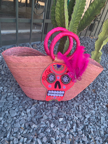 Calavera palm tote bag designed by Tu Corazón Artesanal