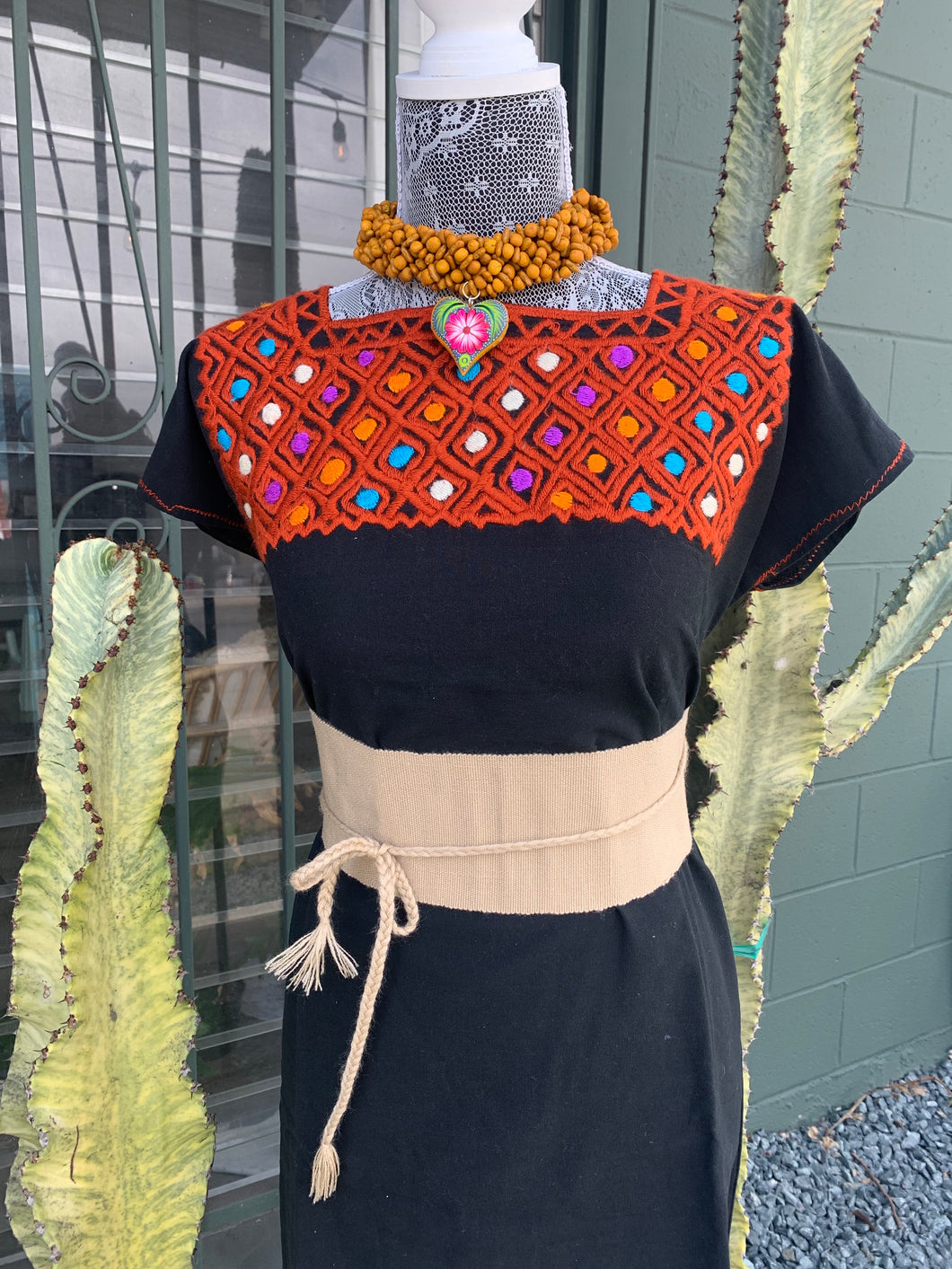 Black and golden brown blouse from Chiapas
