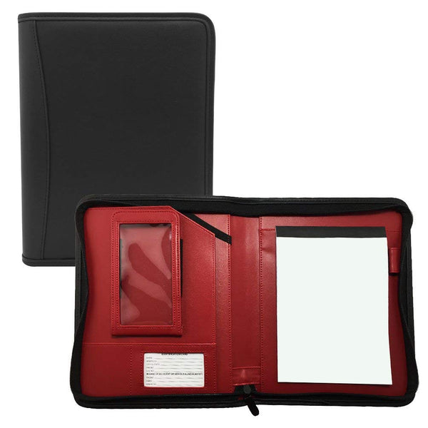 "MSP Small Black Business Padfolio with Bright Red Liner | Zippered Closure, Phone case and 8"" Tablet Holder"