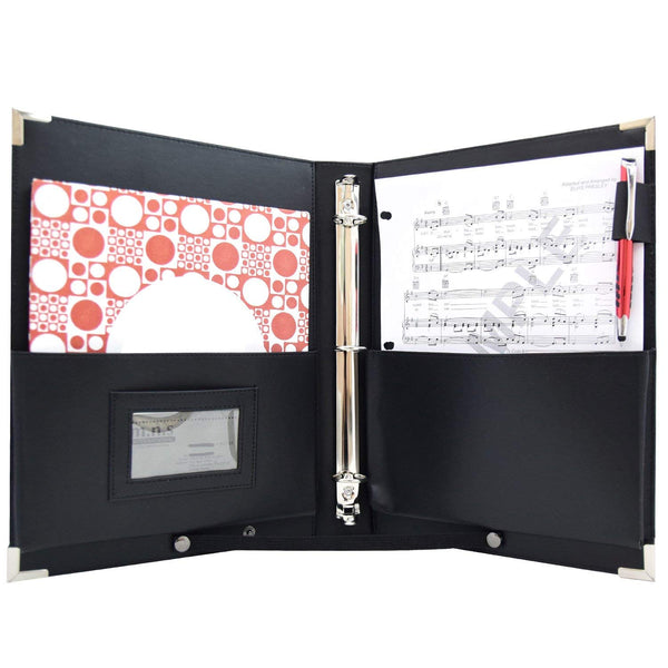 "MSP-210 PU Leather Sheet Music Holder | 9.5 x 12"" - 3 Rings Choir Folder with Hand Strap for Musician"