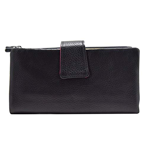 MSP Genuine Leather Multi Colored Rainbow Wallet with 24 card slots & Detachable Coin Purse (Spectrum Black)