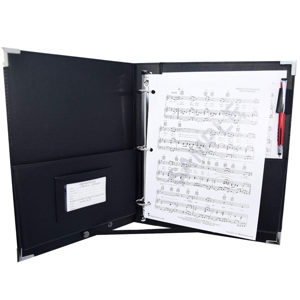 "MSP-210 PU Leather Sheet Music Holder | 9.5 x 12"" - 3 Rings Choir Folder with Hand Strap for Musician -Available Now!)"