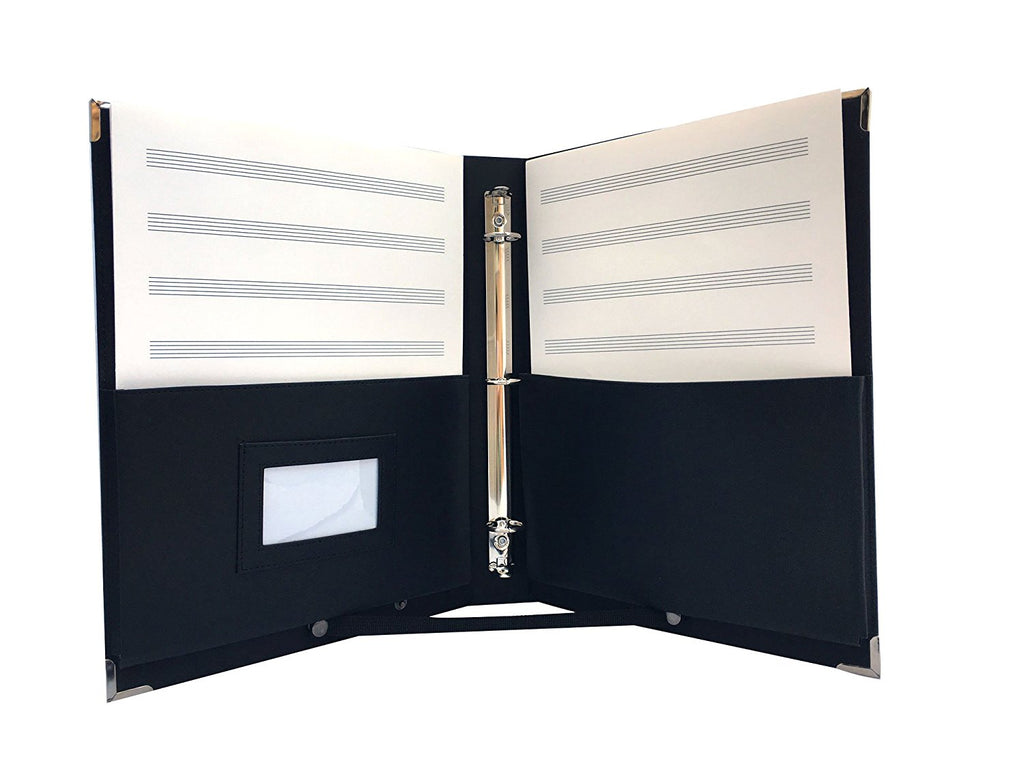 "MSP-220 Large Music Choir Folder 10"" x 13.5"" with Detachable Strap, 3 Ring Binders (Black)"