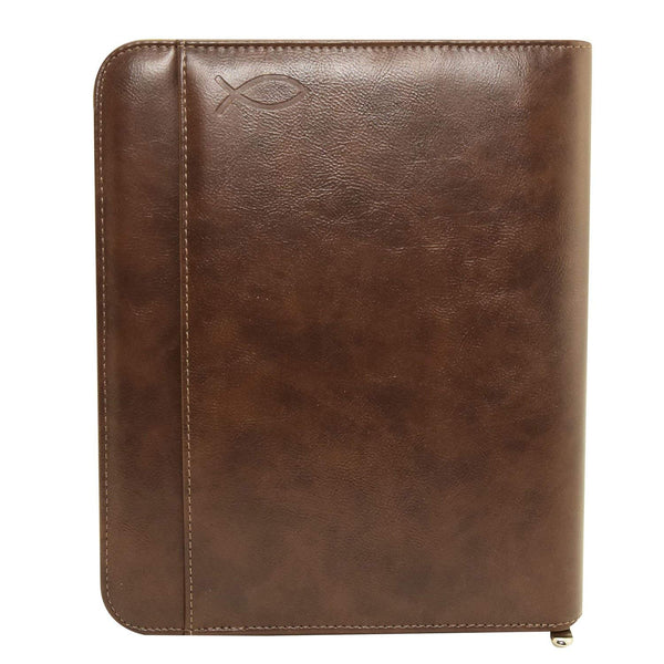 MSP-105FSH Zip around Padfolio Bible Organizer with Tablet Sleeve, Card Slots  and embossed Christian Fish Symbol
