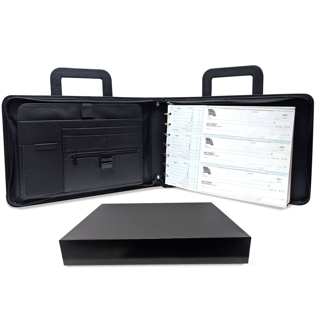 MSP Vegan Leather 7 Ring Business Check Binder Portfolio Briefcase -Professional PU Leather Binder with Retractable Handles, Zippered Closure -500 Check Capacity -9x13 Inch Sheets -Document & Card Organizer - Large Tablet Pocket - Black (050)