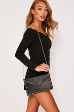 Black Bags - Black Studded Envelope Clutch Bag