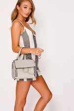 Grey Handbags - Grey Ring Chain Clasp Handbag