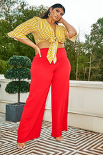 Red Trousers - Curve Latecia Red Crepe Wide Leg Trousers