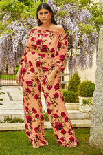Pink Trousers - Curve Latecia Pink Floral Palazzo Trousers