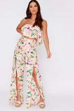 Nude Trousers - Jaycie Nude Tropical Floral Split Front Wide Leg Trousers
