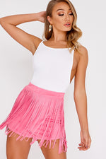 Pink Shorts - Lillianna Pink Faux Suede Tassel Shorts