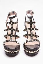Black Wedges - Saleema Black Studded Strap Wedges
