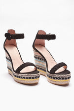 Black Wedges - Imanie Black Aztec Pattern Wedges