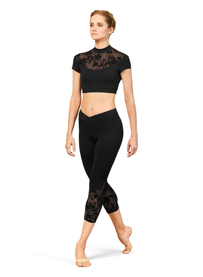 Bloch - High Neck Cap Sleeve Crop Top - Adult (FT5222) - Black *