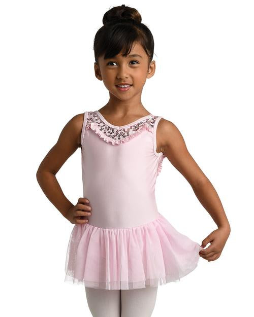 Danz N Motion - Sequin Flower Tank Dress - Child (19206C) - Pink (GSO) /